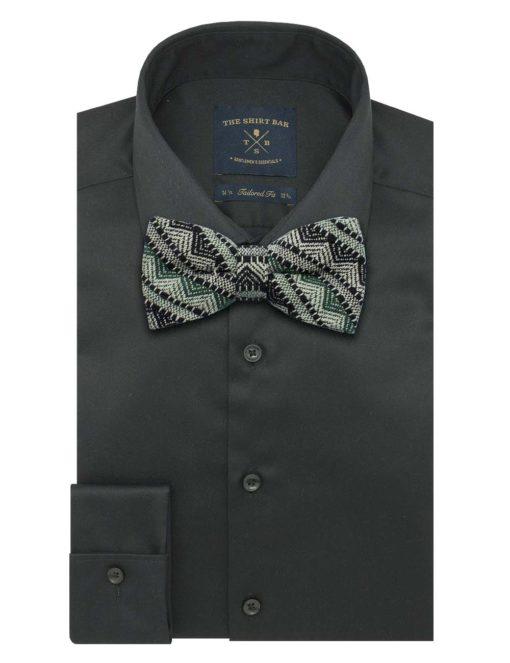 Black & Green Pattern Woven Bowtie WBT36.8