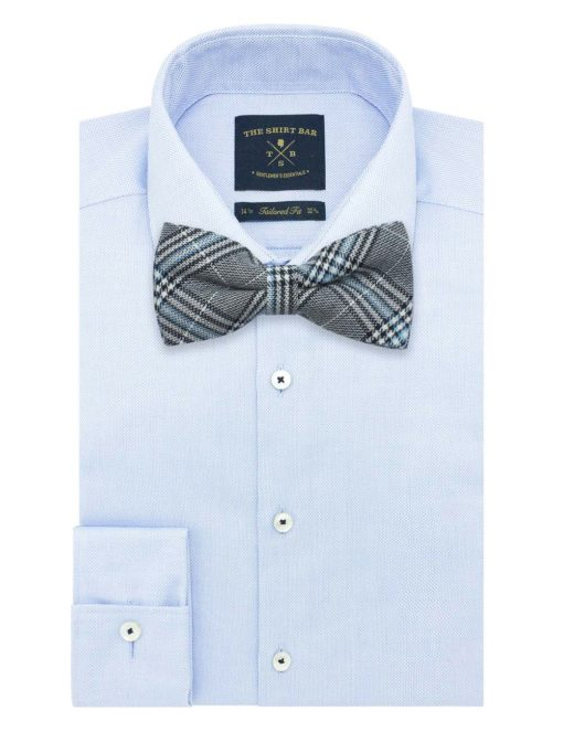 Black and Blue Tartan Checks Woven Bowtie WBT37.8