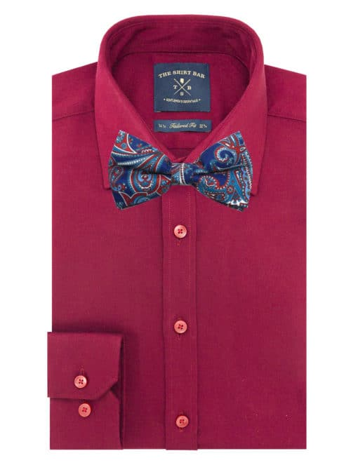 Navy with Red Paisley Print Woven Bowtie WBT42.7