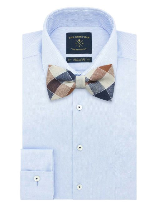 Ecru/ Navy/ Brown Checks Woven Bowtie WBT42.8