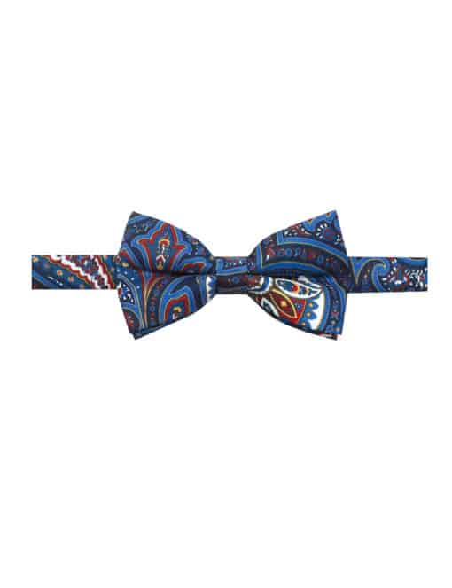 Navy with Red and White Paisley Print Woven Bowtie WBT43.7