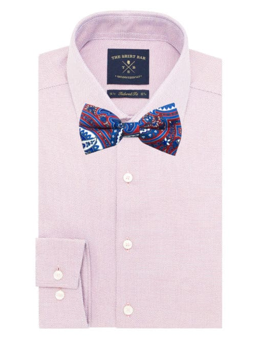 Red with Blue Paisley Print Woven Bowtie WBT44.7