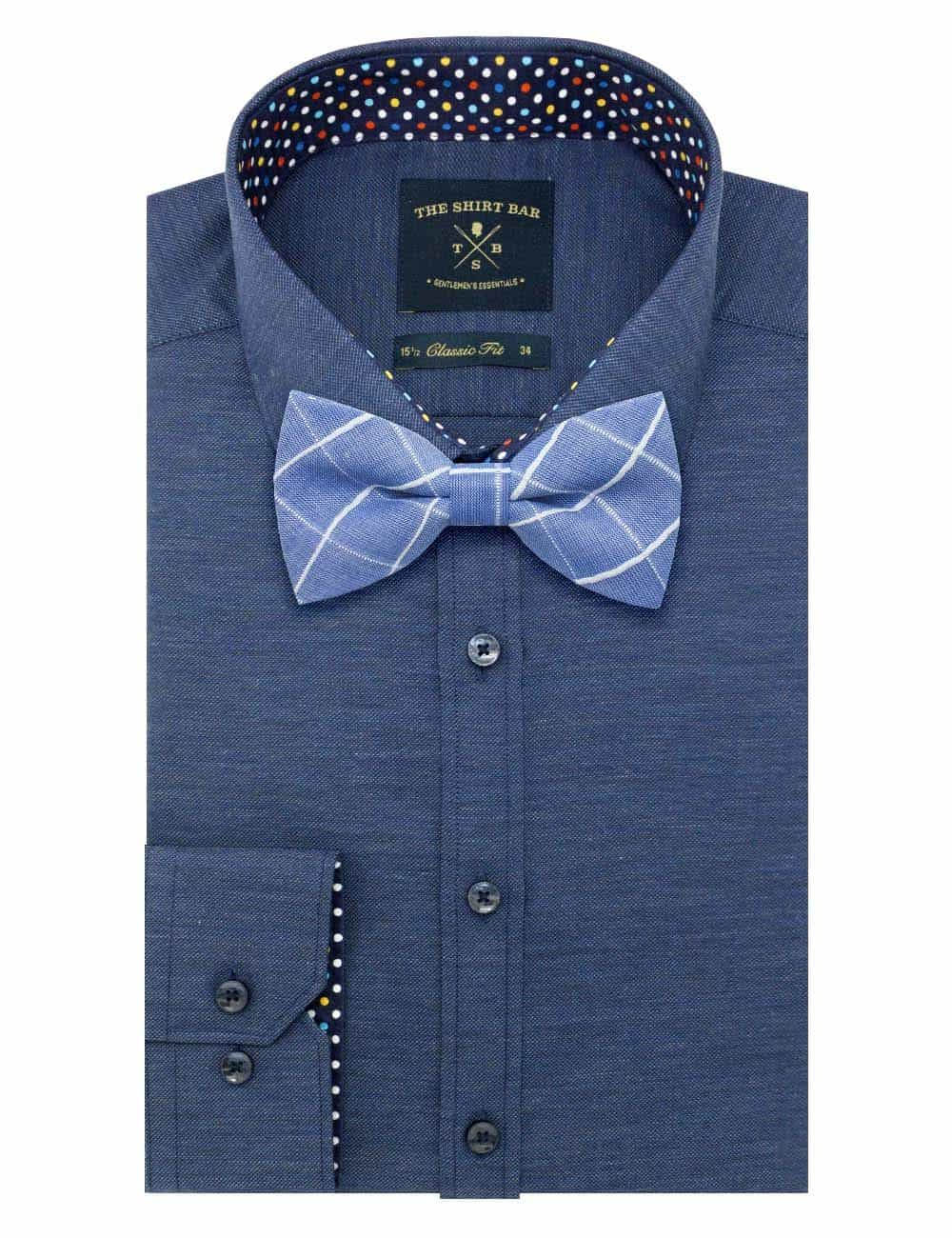 Blue with White Checks Woven Bowtie WBT44.8