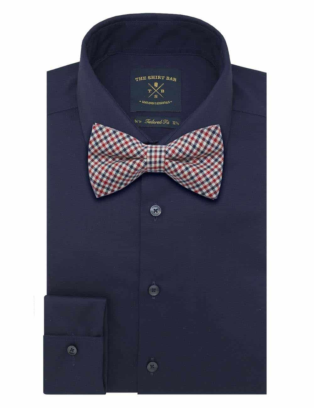 Ecru/ Black/ Red Mini Checks Woven Bowtie WBT48.8