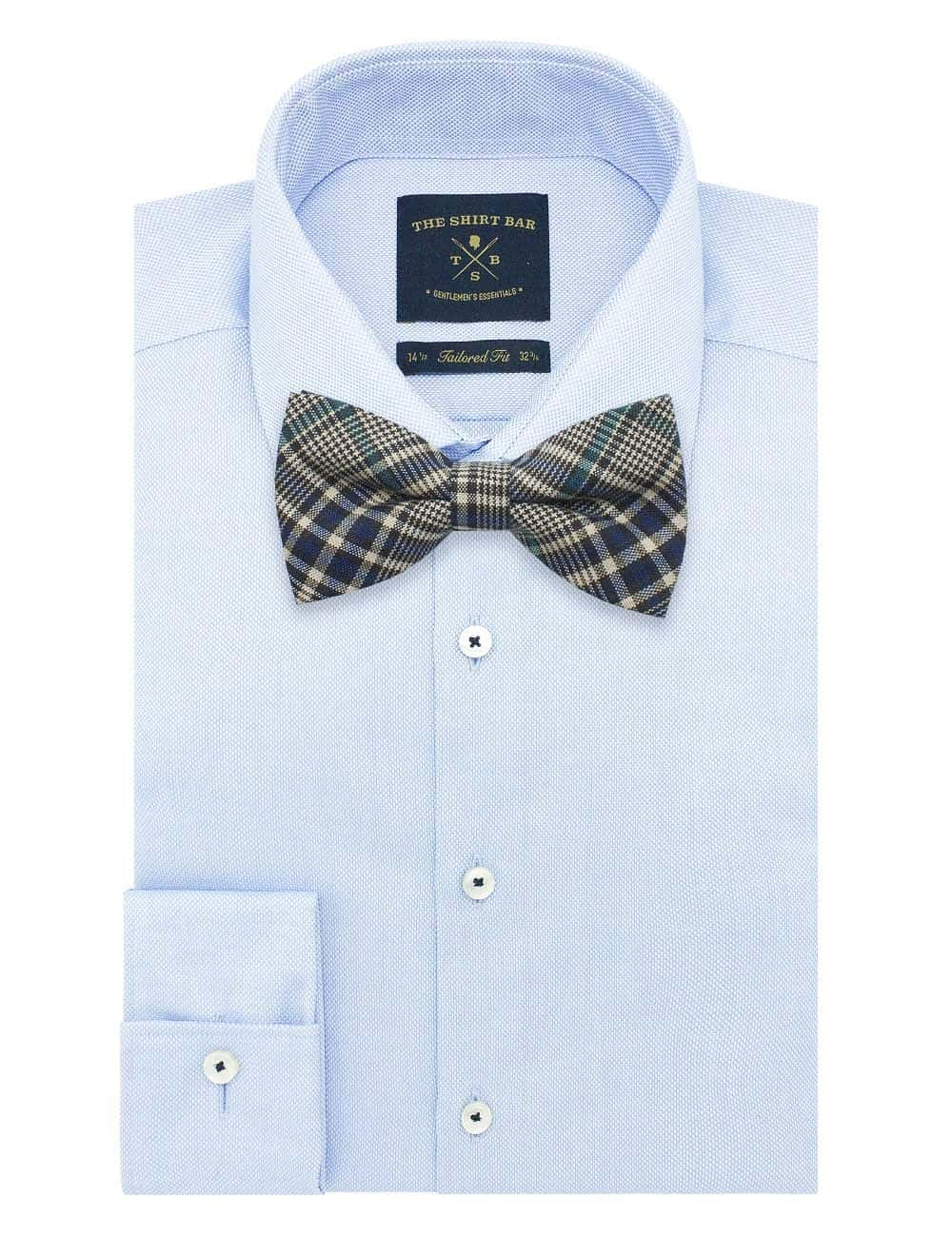 Black and Green Checks Woven Bowtie WBT49.8