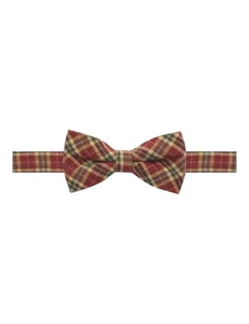 Red and Brown Checks Woven Bowtie WBT50.8