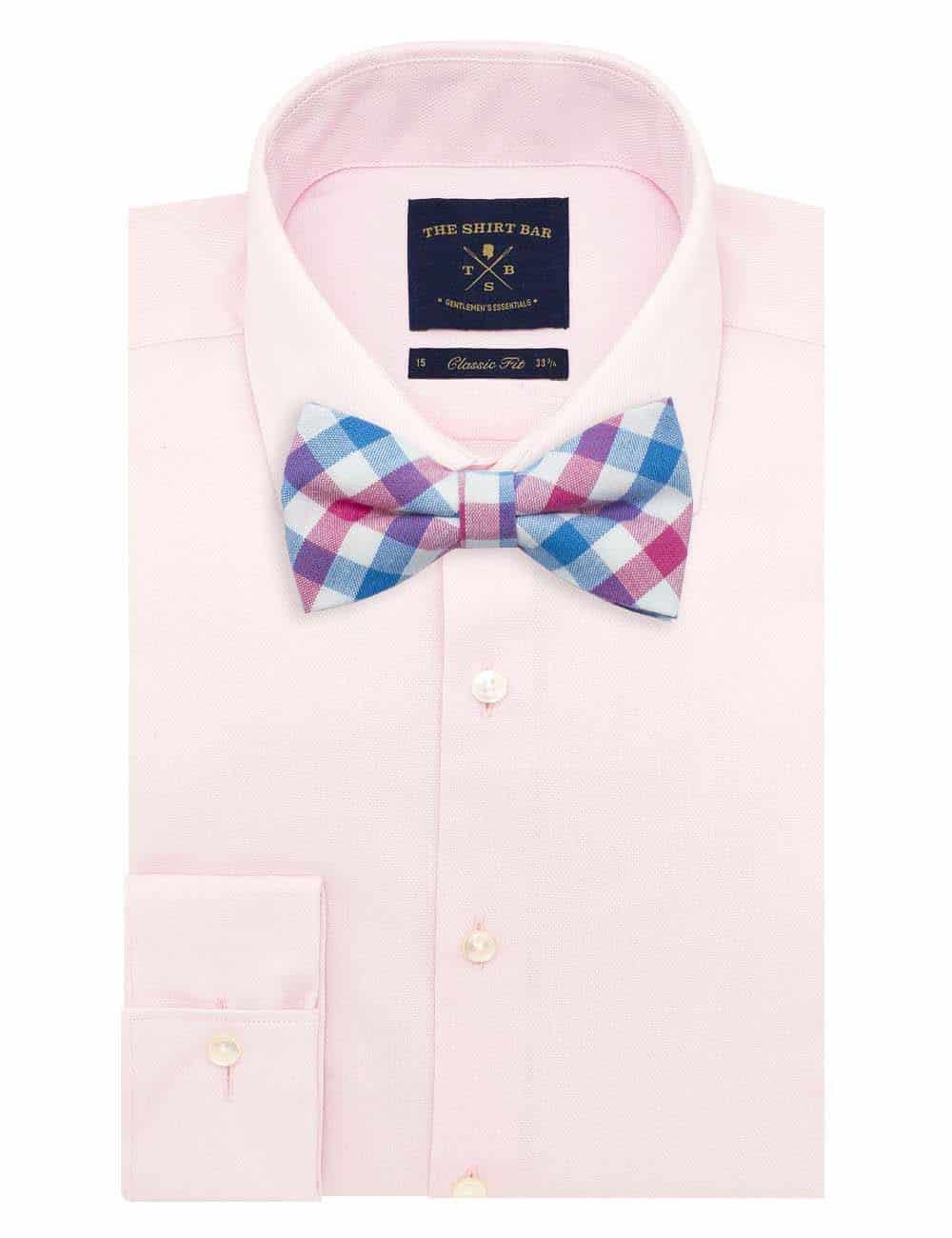 White/ Blue/ Pink Checks Woven Bowtie WBT51.8