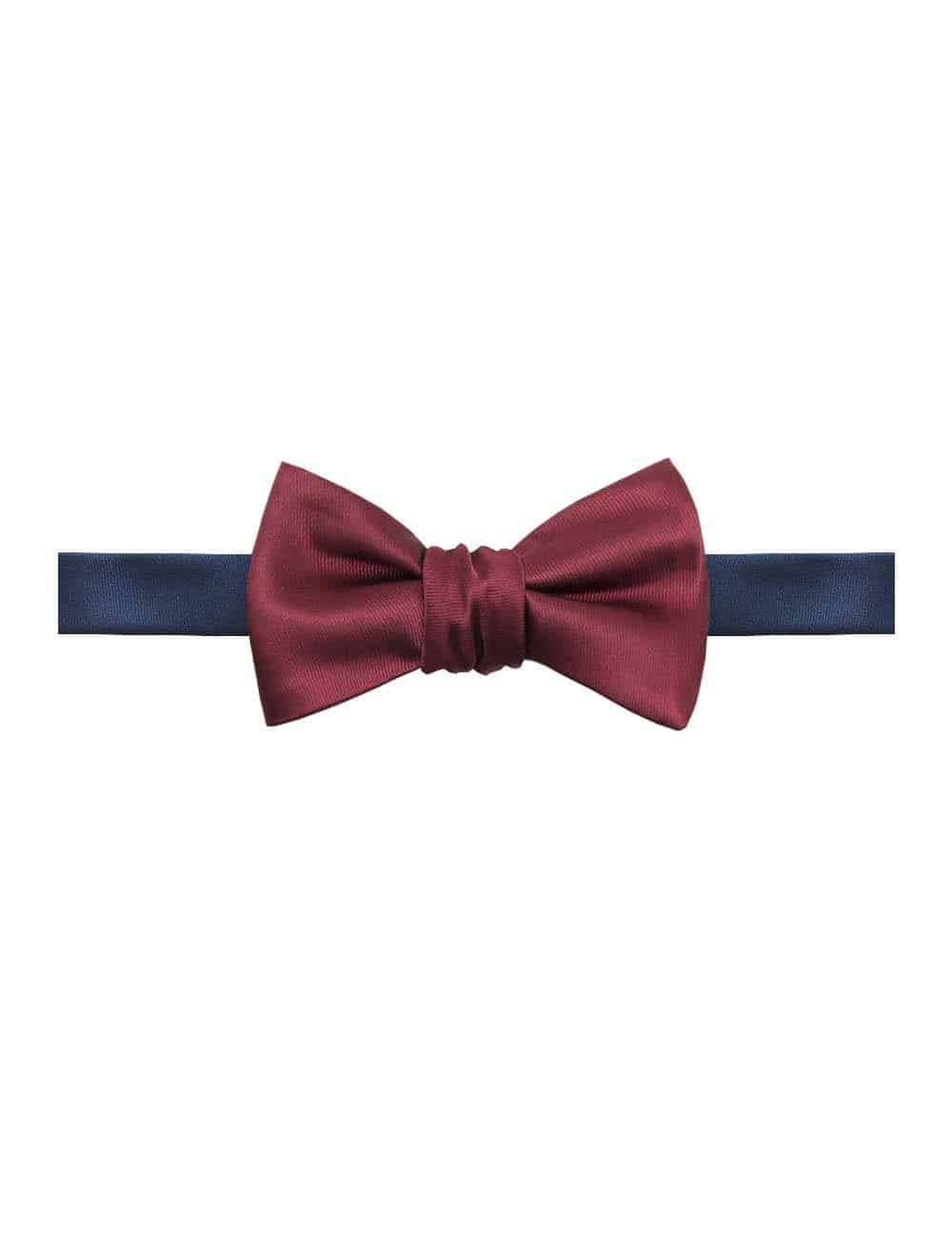 Solid Wine and Navy Reversible Woven Self Tie Bowtie WRSTBT3.11