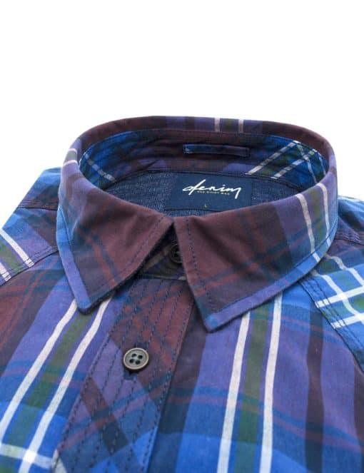 RF Maroon Checks Denim Collection 100% Cotton Long Sleeve Single Cuff Shirt RF22K1.5