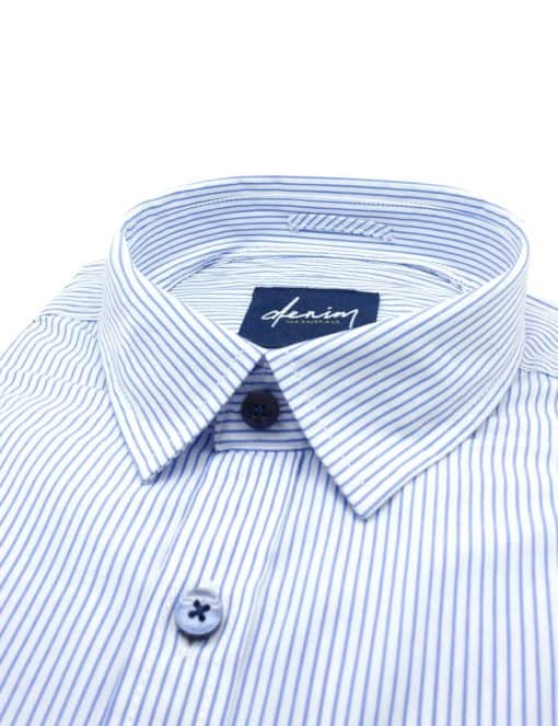 RF White with Blue Stripes Denim Collection 100% Cotton Long Sleeve Single Cuff Shirt RF27B2.5