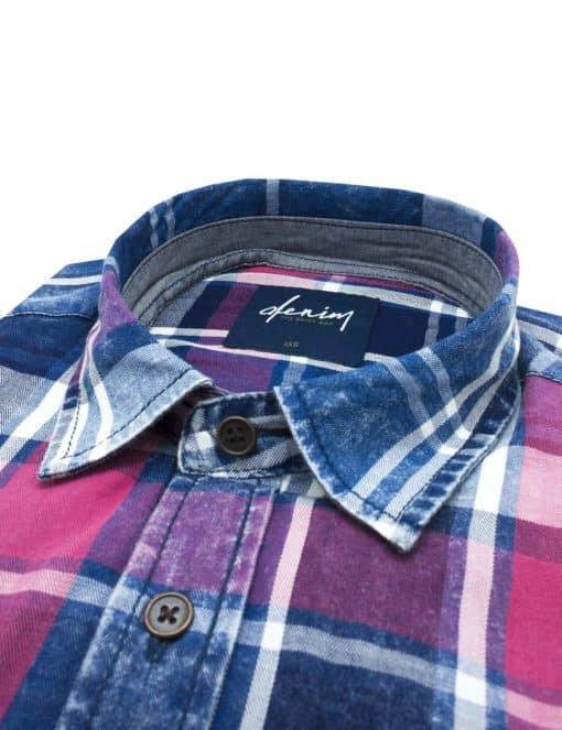 RF Navy & Red Checks Denim Collection 100% Cotton Long Sleeve Single Cuff Shirt RF33B1.8