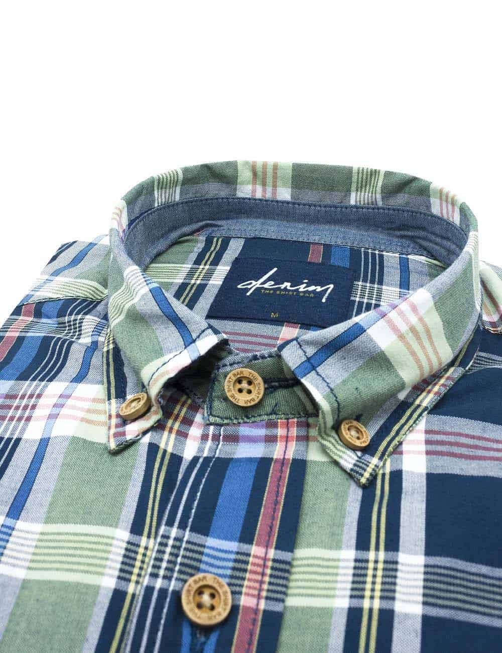 RF Blue/ Green/ Pink Checks Button Down Denim Collection 100% Cotton Long Sleeve Single Cuff Shirt RF36B1.8