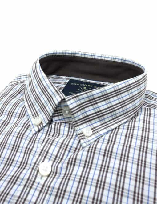 TF White with Brown and Blue Checks 100% Premium Cotton Long Sleeve Single Cuff Shirt TF5B3.1