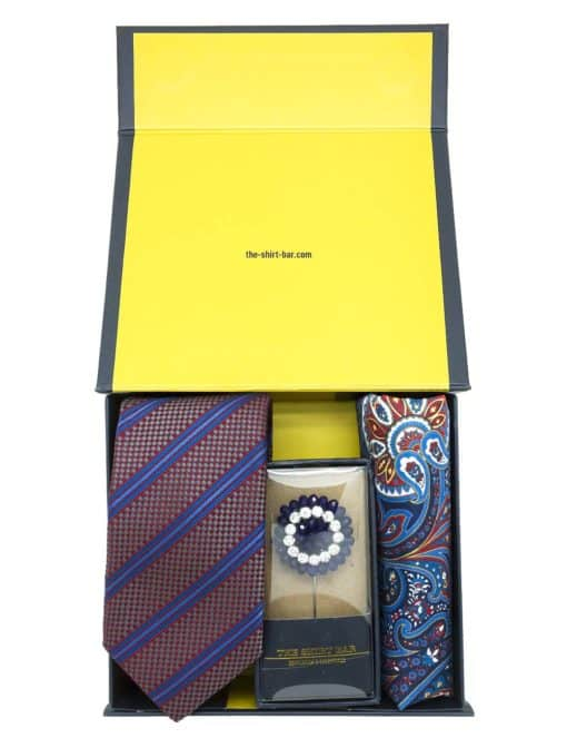 Red Blue Necktie/ Lapel Pin/ Pocket Square Gift Set AGS010NLP.2