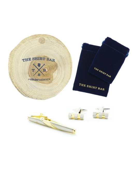 Silver and Gold Cufflink and Tie Clip Gift Set AGS02CLTC.1