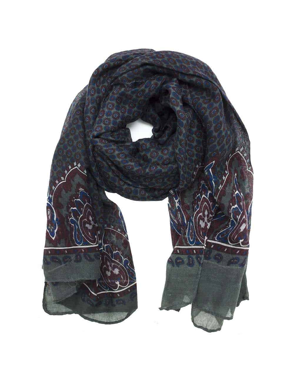 Grey Printed Scarf and Floral Lapel Pin Gift Set AGS02SFLP.1