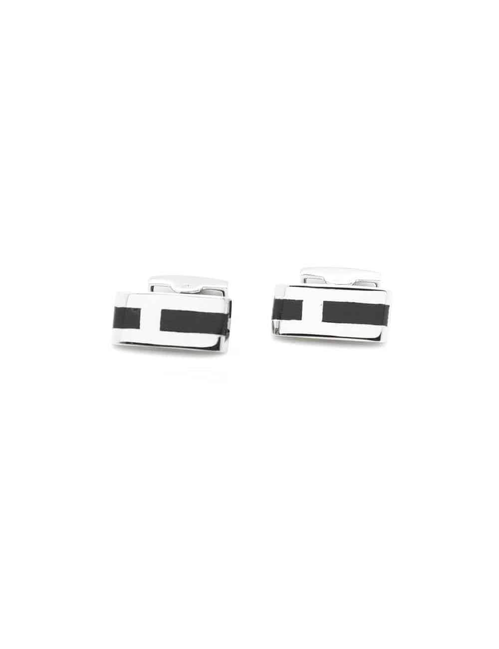 Black Enamel Cufflink and Tie Clip Gift Set AGS03CLTC.1