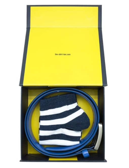 Navy/ Blue Leather Belt and Socks Gift Set AGS03LBS.1