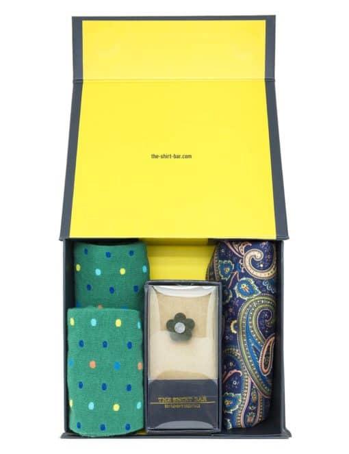 Green Socks/ Lapel Pin/ Pocket Square Gift Set AGS08SLP.1
