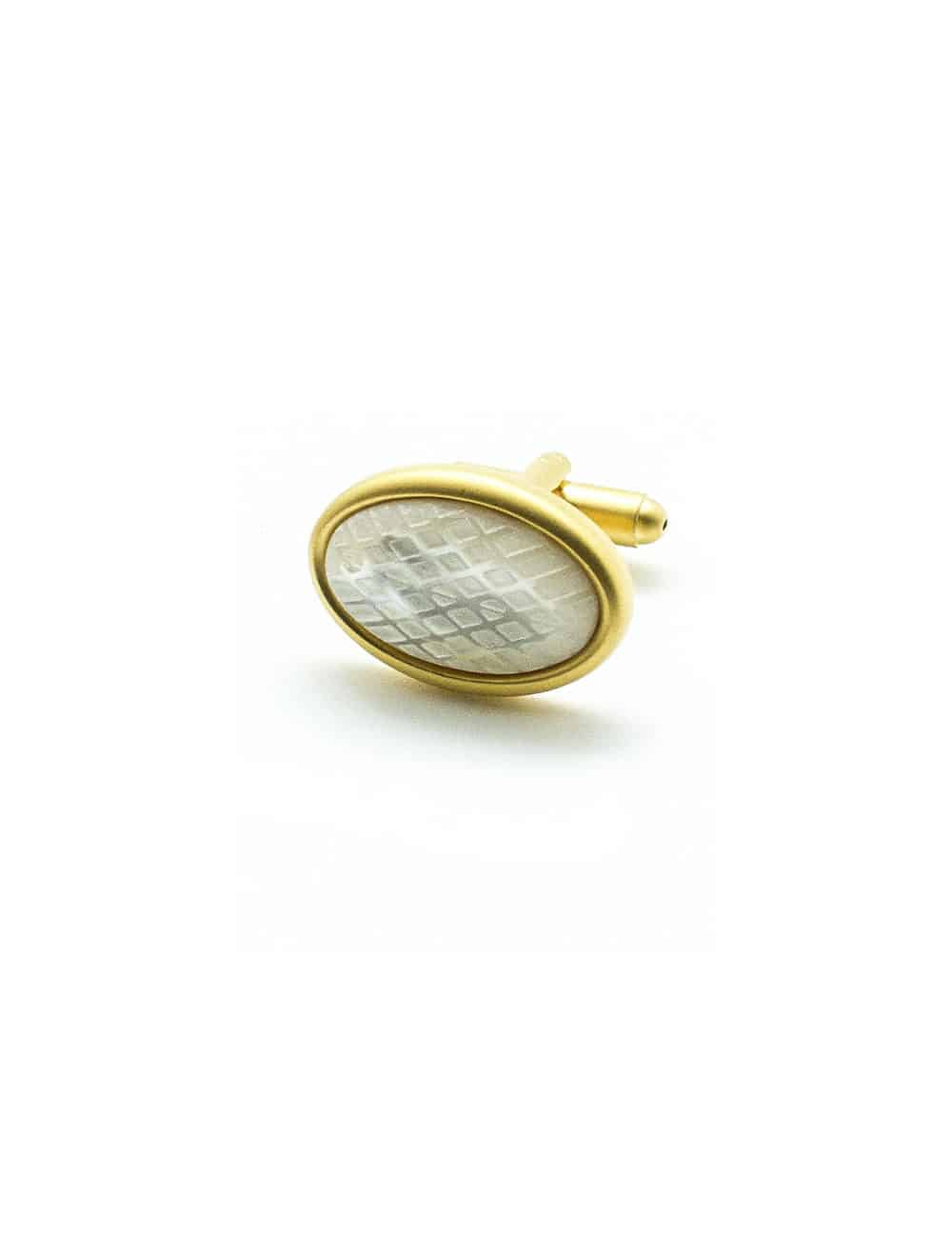 Mother of Pearl Oval Dome with Checks Matte Gold edge Cufflink C131FP-066B