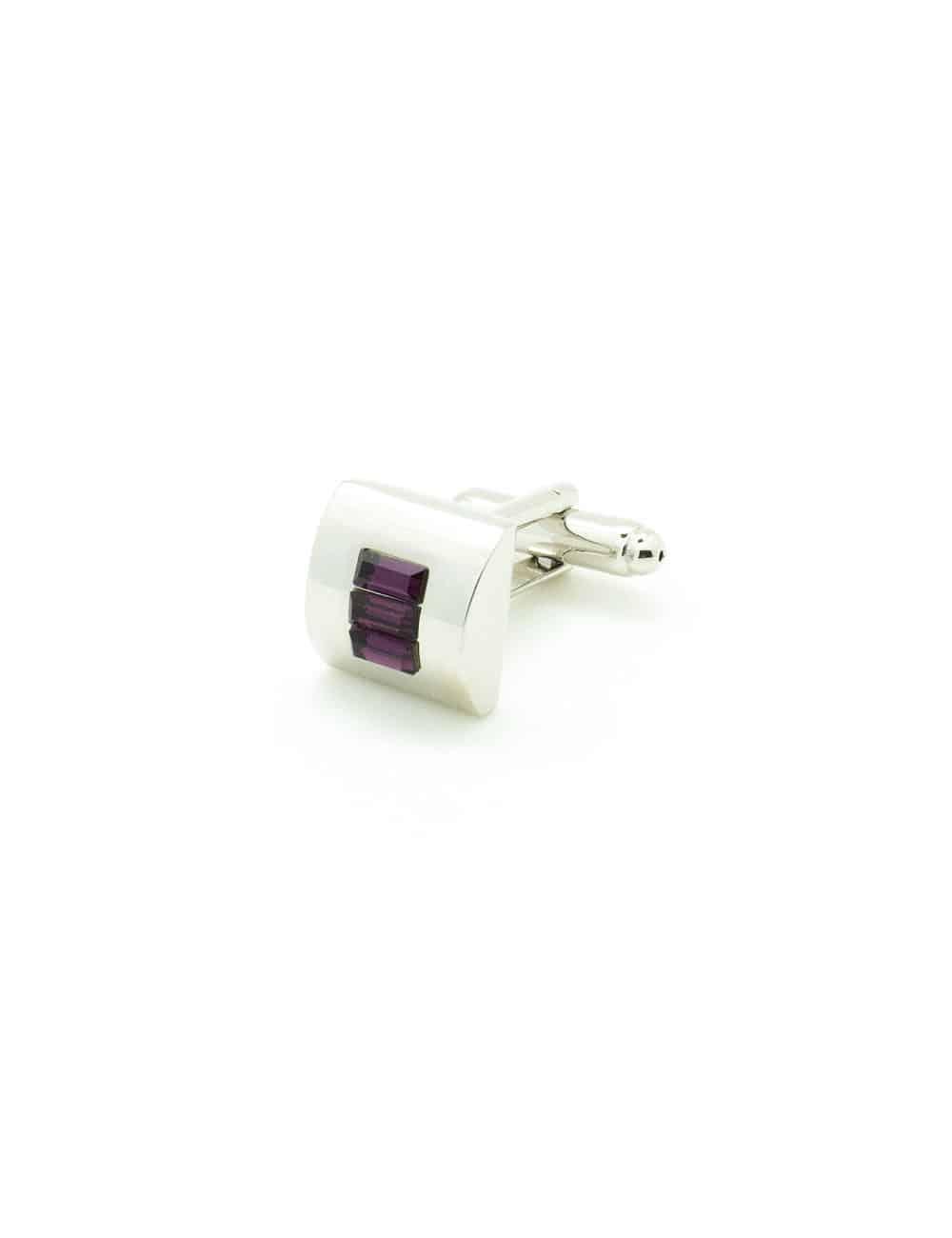 Purple Crystal Tile in Silver Semi Circle Cufflink