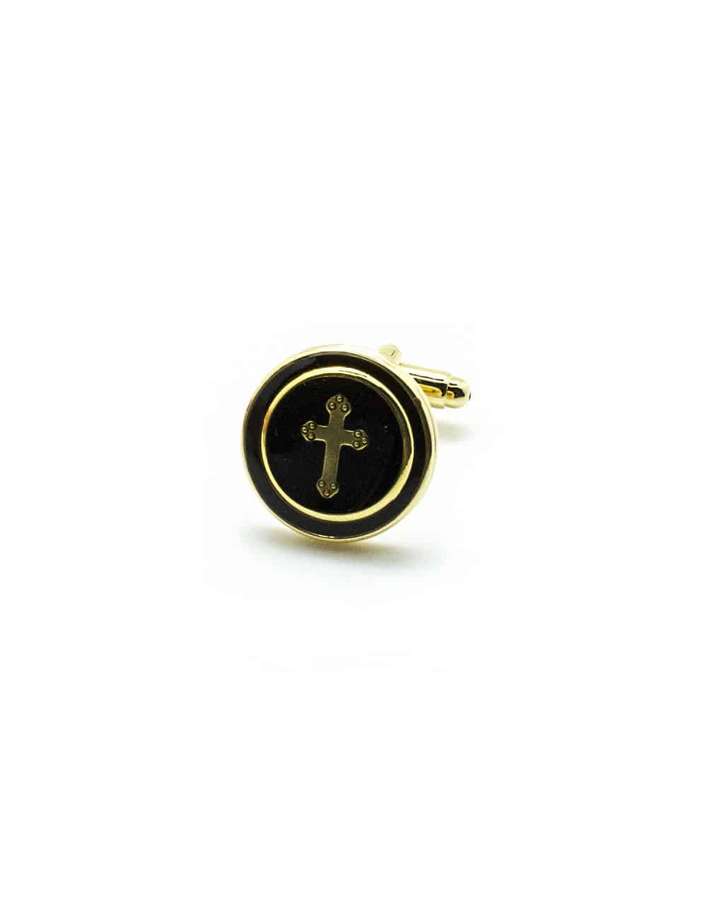 Black Enamel with Gold Cross in Gold Round Cufflink C231NF-041