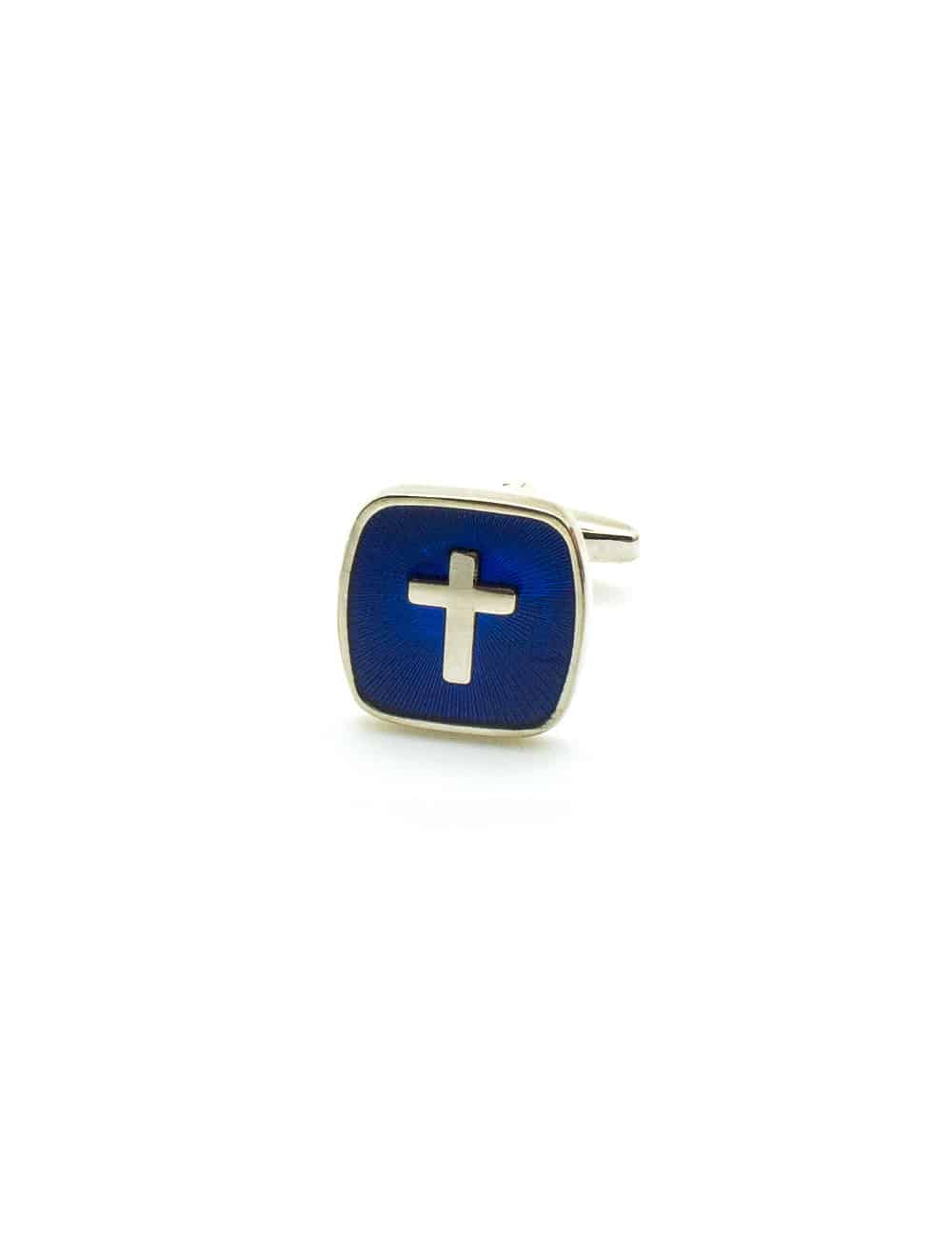 Silver Cross in Blue Enamel Square Cufflink C231NF-044B