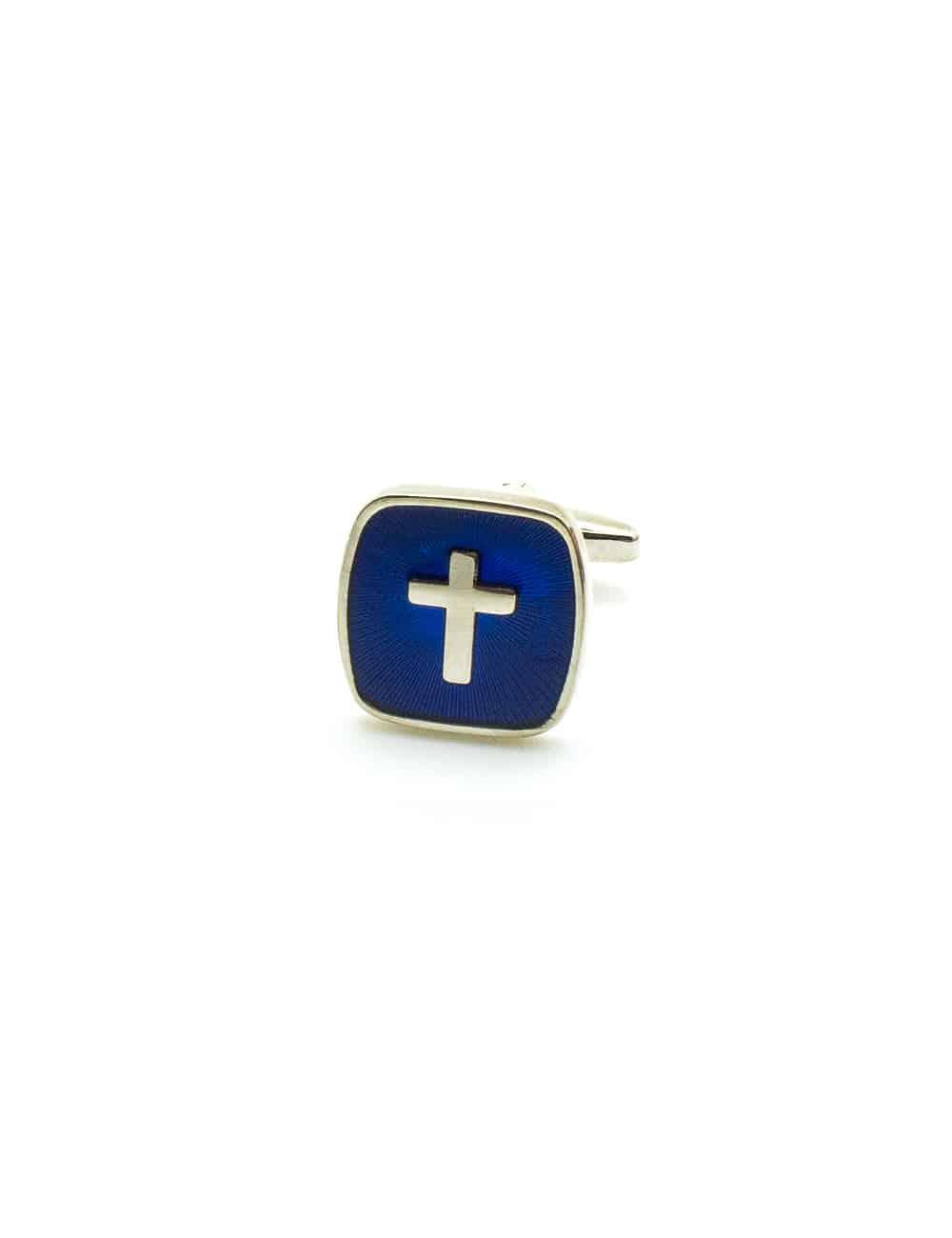 Silver Cross in Blue Enamel Square Cufflink C231NF-044B