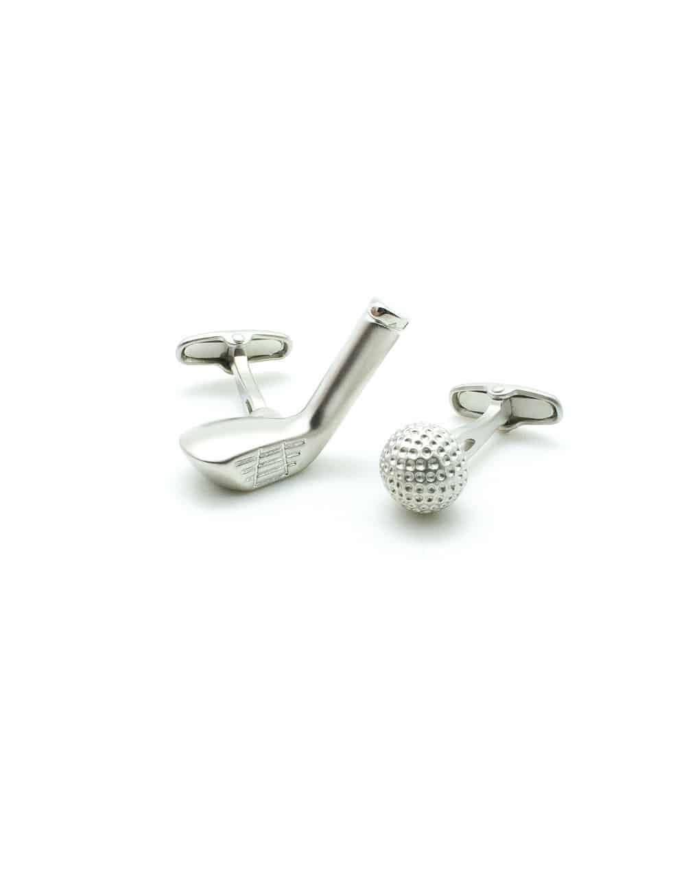 Matte Silver Golf Ball and Club Set Cufflink C251NS-011