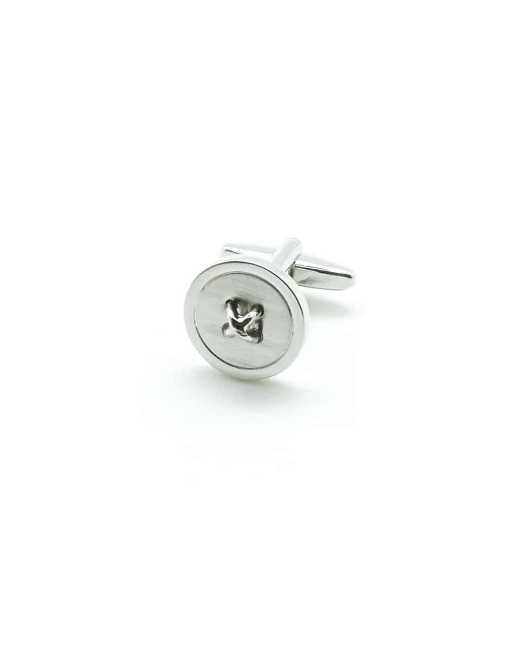 Matte Silver Button with Extruded Cross Stitch Cufflink C263NF-023