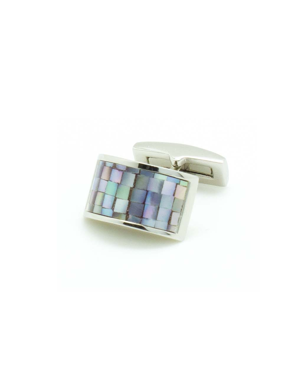 Light Purple Mosaic Tiles Pearl with Half Round Rectangular Cufflink - C131FP-043B