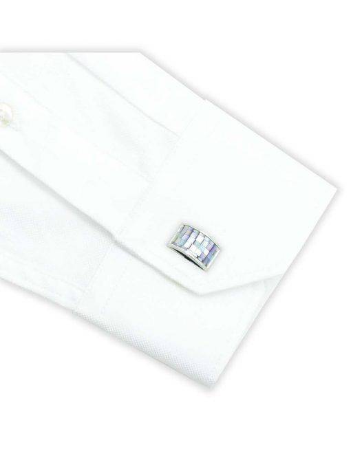 Light Purple Mosaic Tiles Pearl with Half Round Rectangular Cufflink - C131FP-043B