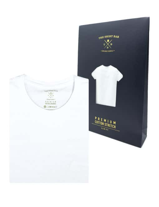 Slim Fit White Premium Cotton Stretch Short Sleeves Crew Neck T-shirt TS1A1.1
