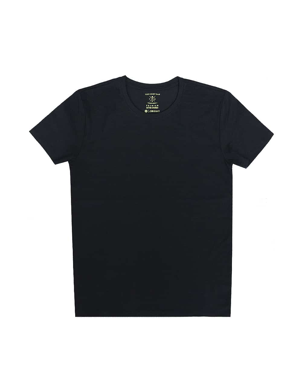 Slim Fit Black Premium Cotton Stretch Short Sleeves Crew Neck T-shirt TS1A2.1