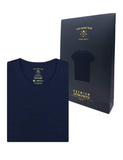 Slim Fit Navy Premium Cotton Stretch Short Sleeves Crew Neck T-shirtTS1A3.1
