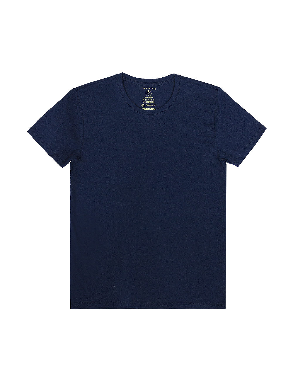 Slim Fit Navy Premium Cotton Stretch Short Sleeves Crew Neck T-shirt TS1A3.1