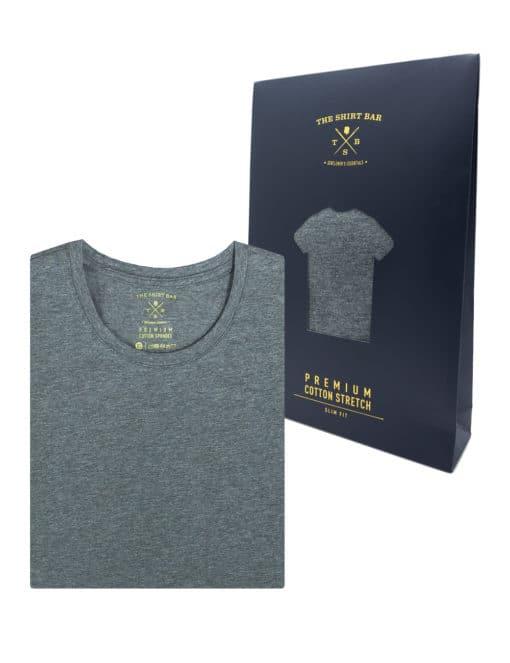 Slim Fit Grey Premium Cotton Stretch Short SleevesCrewNeck T-Shirt TS1A4.1