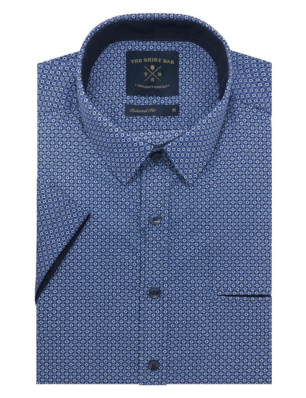 Blue Polka Dots Custom / Relaxed Fit Short Sleeve Shirt - RF9SNB7.19