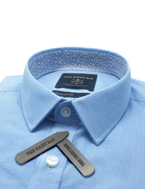 Blue and White Micro Checks Custom / Relaxed Fit Short Sleeve Shirt – RF9SNB13.19