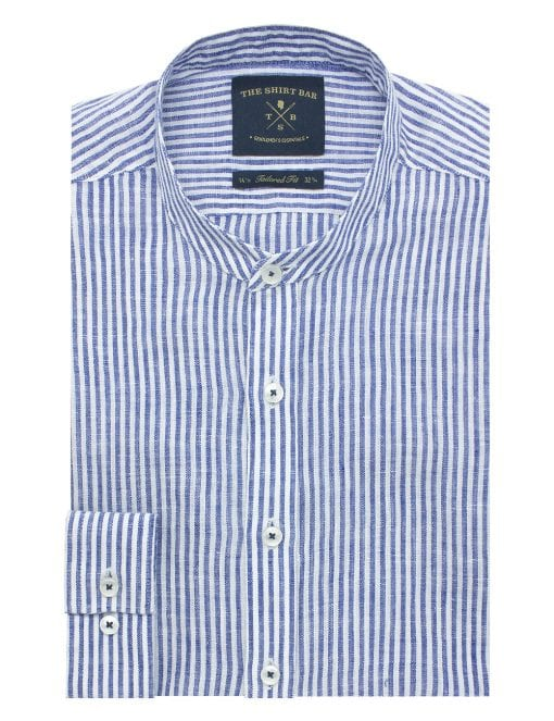 Blue and White Stripes Linen Mandarin Collar Slim / Tailored Fit Long Sleeve Shirt - TF11G10.19