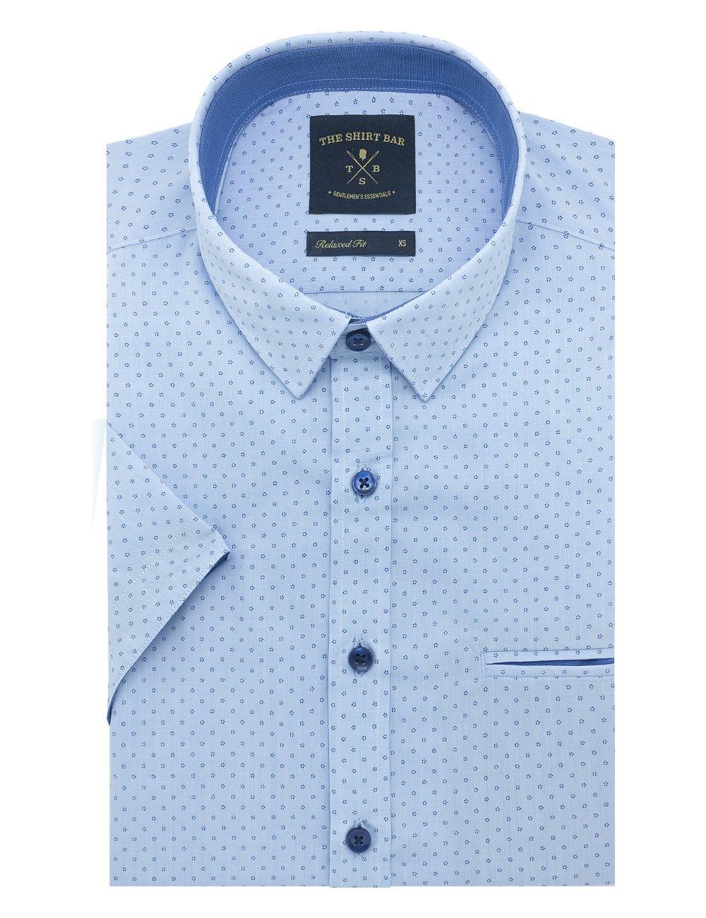 Blue with Navy Mini Flower Print Custom / Relaxed Fit Short Sleeve Shirt – RF9SNB5.19
