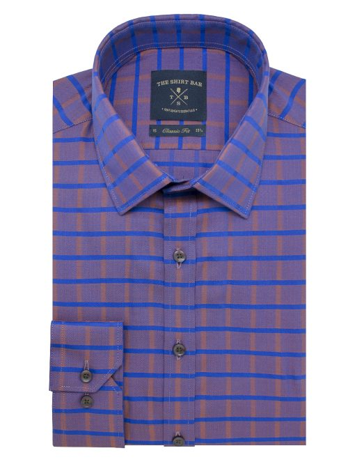 Brown with Blue Checks Modern / Classic Fit Long Sleeve Shirt – CF2A6.19