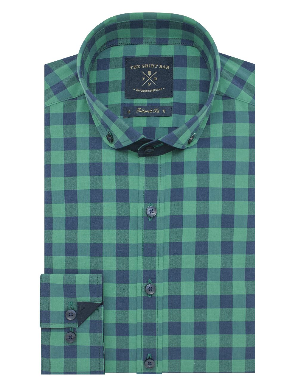 Green and Navy Checks Slim / Tailored Fit Button Down Long Sleeve Shirt - TF7E3.19