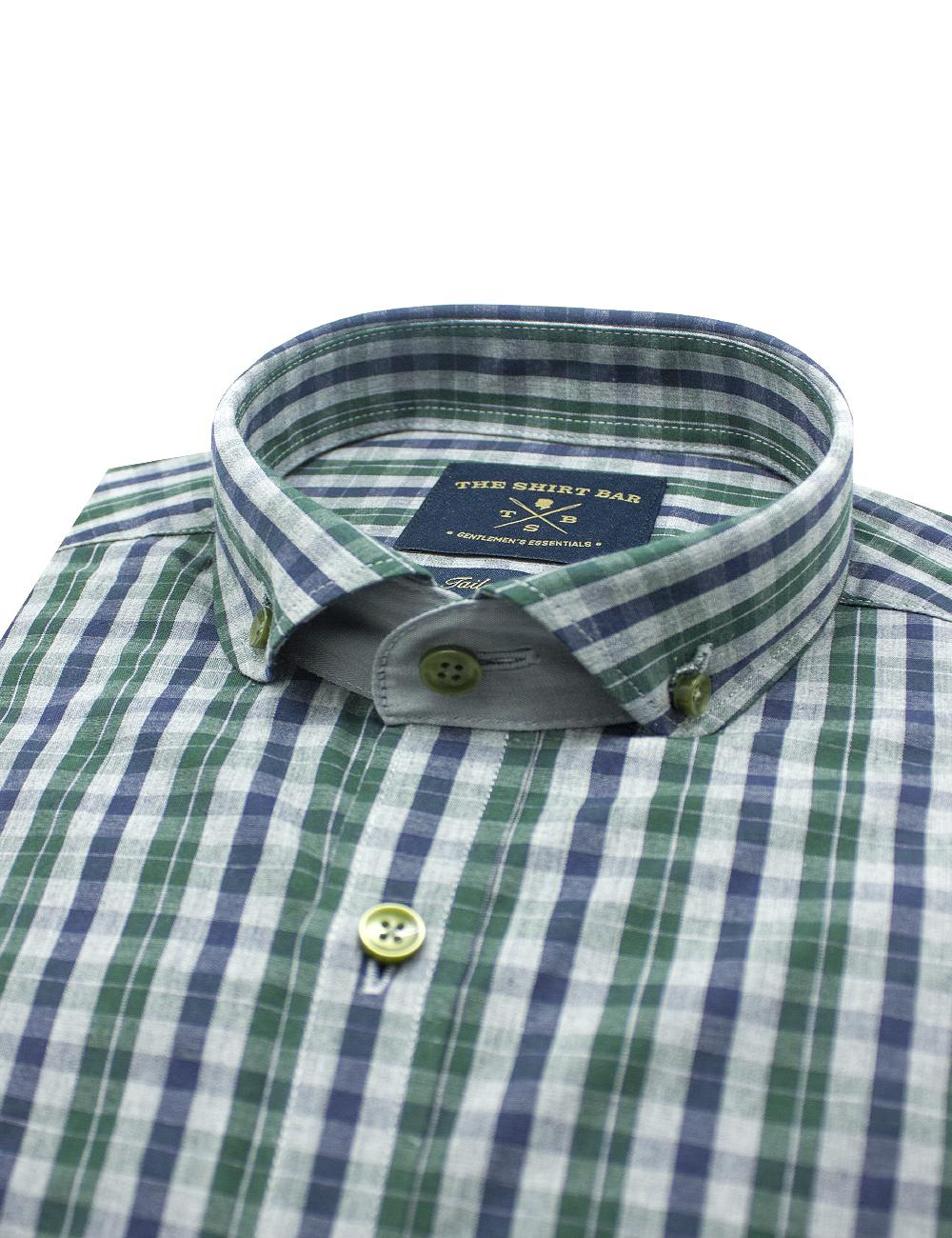 Green/ Navy/ Grey Checks Button Down Collar Slim / Tailored Fit Long Sleeve Shirt - TF7E2.19