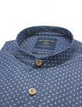 Mandarin-Collar Navy Denim Printed Slim / Tailored Fit Long Sleeve Shirt - TF11G7.19