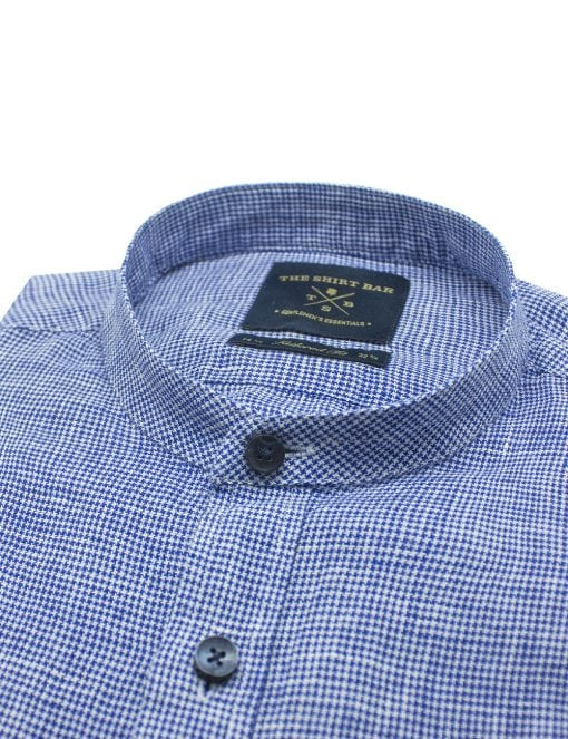 Navy Pattern Linen Mandarin Collar Slim / Tailored Fit Long Sleeve Shirt - TF11G4.19