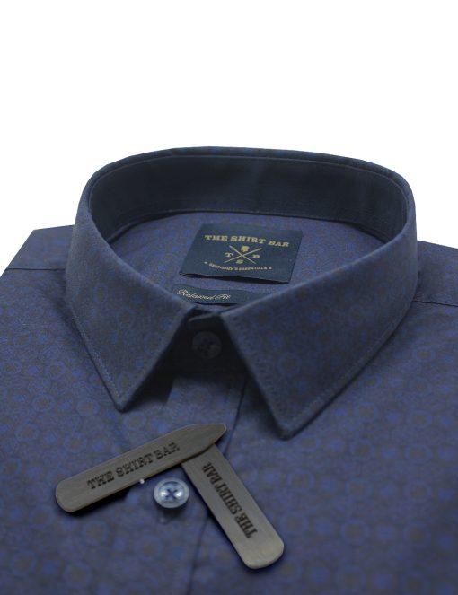 Navy Peranakan Tile Print SG Inspired Custom / Relaxed Fit Short Sleeve Shirt – RF9SNB11.19