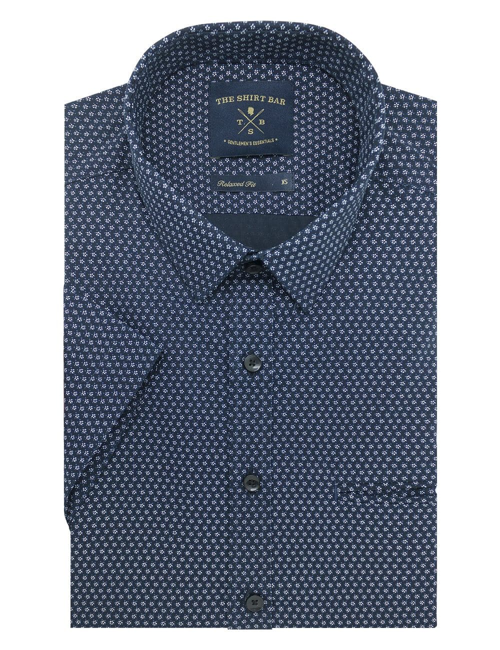 Navy with White Floral Print Custom / Relaxed Short Sleeve Shirt – RF9SNB12.19