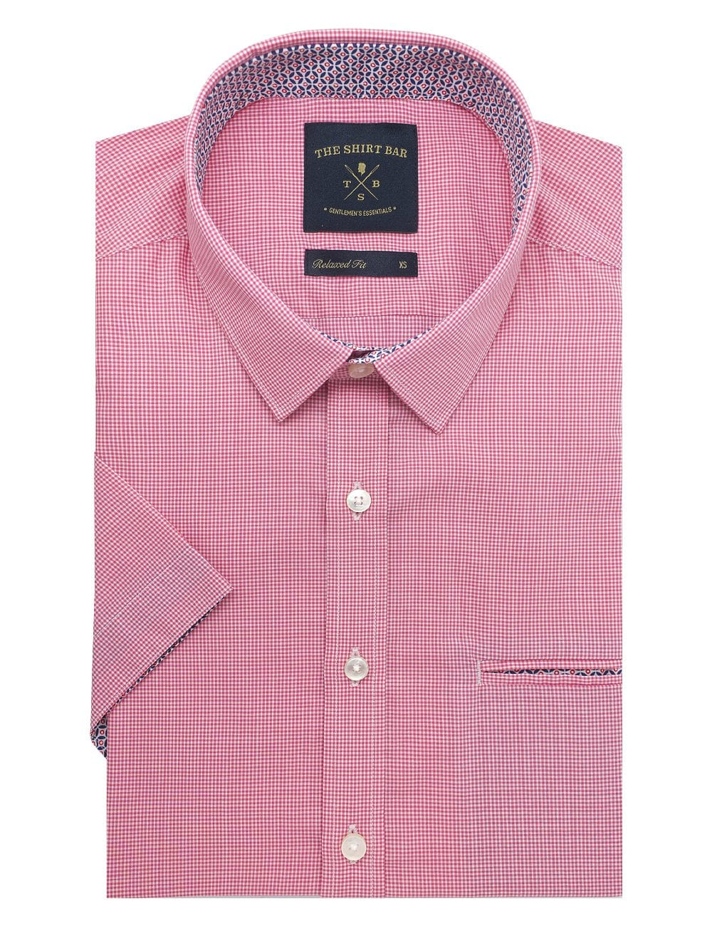 Pink and White Micro Checks Custom / Relaxed Fit Short Sleeve Shirt – RF9SNB17.19