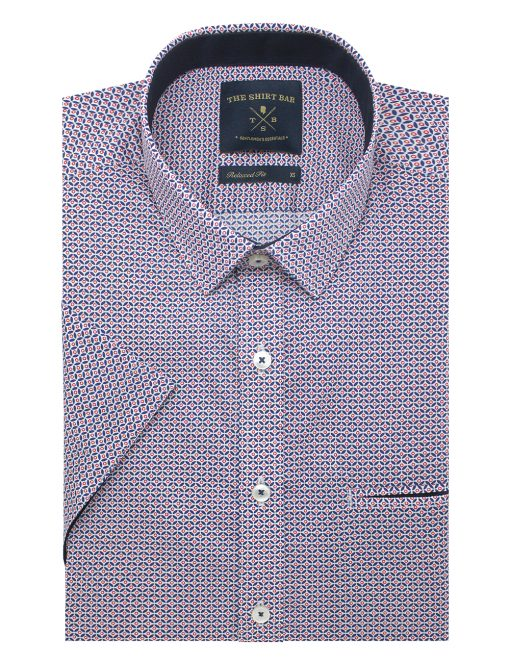 Red Geometric Print Custom / Relaxed Fit Short Sleeve Shirt – RF9SNB22.19